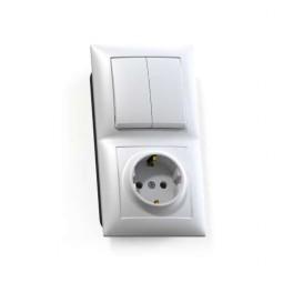 Блок СП БКВР-412 Селена (2-кл. выкл. + розетка с заземл.) бел. Кунцево