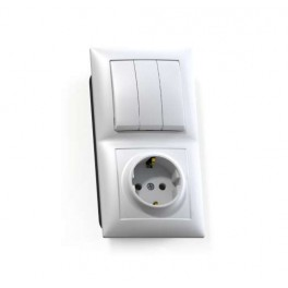 Блок СП БКВР-413 Селена (3-кл. выкл. + розетка с заземл.) бел. Кунцево