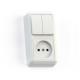 Блок комбинированный ОП БКВР-404 Оптима (2-кл. выкл. + розетка) бел. Кунцево