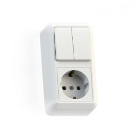 Блок комбинированный ОП БКВР-428 Оптима (2-кл. выкл. + розетка с заземл.) бел. Кунцево
