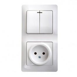 Блок комбинированный GLOSSA розетка + выкл. 2-кл. с подсвет. бел. SchE