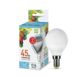Лампа светодиодная LED-шар-standard 5Вт 160-260В E14 4000К 450лм ASD