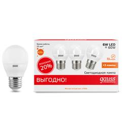 Лампа светодиодная LED Elementary Globe 6Вт E27 2700К ПРОМО (уп.3шт) Gauss
