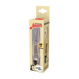 Лампа светодиодная LED Филамент 5Вт Свеча на ветру 160-260В E14 450лм 2700К ЭКОНОМКА