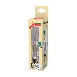 Лампа светодиодная LED Филамент 5Вт Свеча на ветру 160-260В E14 450лм 4500К ЭКОНОМКА