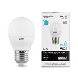 Лампа светодиодная LED Elementary Globe E27 8Вт 4100К Gauss