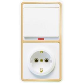 Блок БКВР-056 Бэлла (1-кл. выкл. с подсветкой + розетка с заземл.) зол. Кунцево
