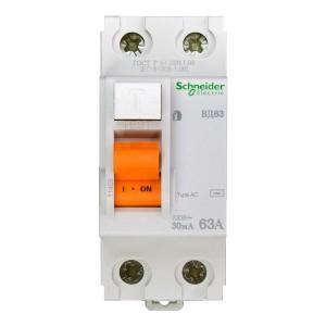 Выключатель диф. тока 2п 63А 30мА тип AC ВД63 Домовой SchE