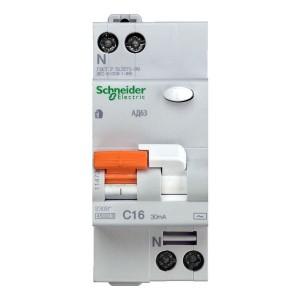 Выключатель авт. диф. тока 1п+N 2мод. C 16А 30мА тип AC 4.5кА АД63 Домовой SchE