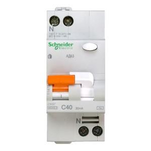 Выключатель авт. диф. тока 1п+N 2мод. C 40А 30мА тип AC 4.5кА АД63 Домовой SchE