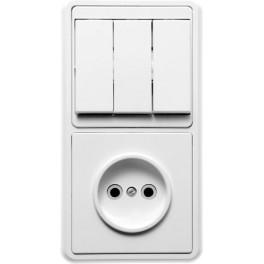 Блок БКВР-039 Бэлла (3-кл. выкл. + розетка) Кунцево