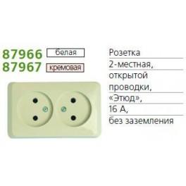 Розетка 2-м ОП Этюд 16А без заземл. бел. SchE