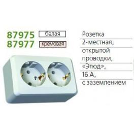 Розетка 2-м ОП Этюд 16А с заземл. бел. SchE