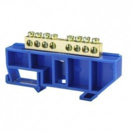 Шина нулевая 'N' 8 6х9 мм (с синим DIN-изолятором)