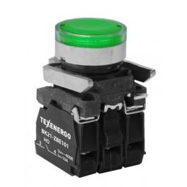 Выключатель кнопочный ВК21-ВW33M5 1з+1р зелёный, подсветка светодиод 220В АС