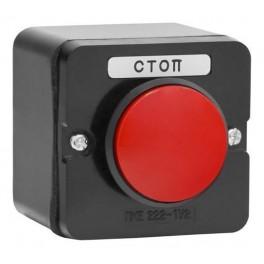 Пост кнопочный ПКЕ 222-1 У2 красный гриб IP54 (карболит) ГОСТ