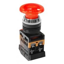 Кнопочный выключатель AELA-22 красный гриб с подсветкой 1з+1р 230В