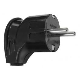 Вилка (евростандарт) 250В, 16А угловая черная