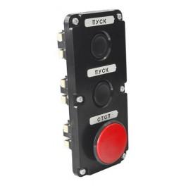 Пост кнопочный ПКЕ 122-3 У2 красный гриб IP54 (карболит) ГОСТ