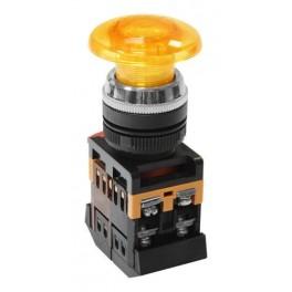 Кнопочный выключатель AELA-22 желтый гриб с подсветкой 1з+1р 230В