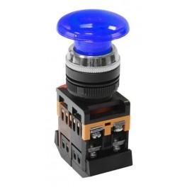 Кнопочный выключатель AELA-22 синий гриб с подсветкой 1з+1р 230В