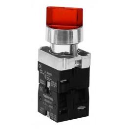 Переключатель LAY5-BК2465 на 2 положения с подсветкой 'I-O' красный 1з+1р
