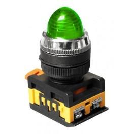 Сигнальная лампа AL-22 зеленый 230В неоновая лампа, колпачек выпуклый