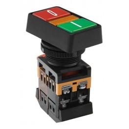 Кнопочный выключатель PPBB-30N сдвоенная ' I-O ' с подсветкой