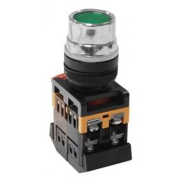 Кнопочный выключатель ABLF-22 зеленая с подсветкой 1з+1р 230В