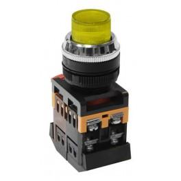 Кнопочный выключатель ABLFP-22 желтая с подсветкой 1з+1р 230В