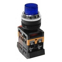 Кнопочный выключатель ABLFP-22 синяя с подсветкой 1з+1р 230В
