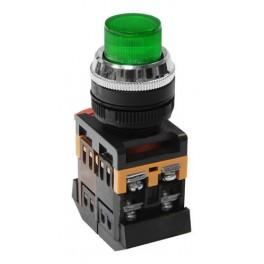 Кнопочный выключатель ABLFP-22 зеленая с подсветкой 1з+1р 230В