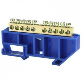 Шина нулевая 'N' 10 6х9 мм (с синим DIN-изолятором)