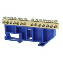 Шина нулевая 'N' 14 6х9 мм (с синим DIN-изолятором)