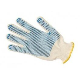 Перчатки с ПВХ 3-х нитка 10 класс 'Точка' х/б
