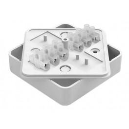 Распаячная коробка о/у с клеммной колодкой 2*4*10 РК 75х75х20 белая (на 6 контактов сеч.2,5)