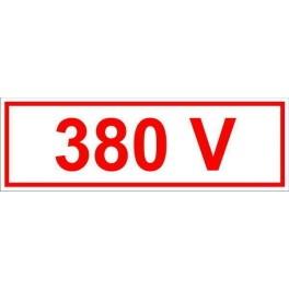 Самоклеящиеся знак '380В' (35 х 100)мм 1 Лист - 9 шт.